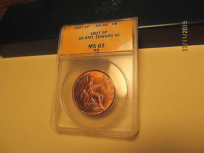 1907 Penny ANACS MS63 RB Very Nice Coin Scarce Date