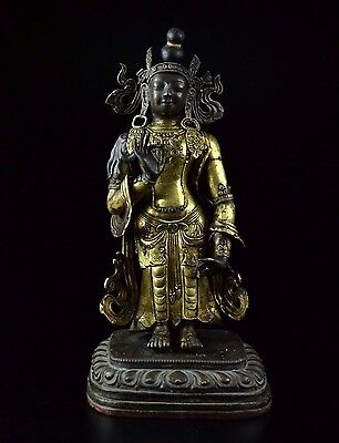 Qing Dynasty, 18C A Rare Gilt-Copper Repousse  Figure of Standing Buddha  38cm