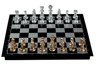 Chess Board Magnetic Gold Silver Portable Foldable Chessmen Travel Outdoor V_e