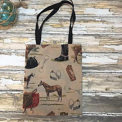 Horse Tote Bag Canvas Shopping Equestrian Rodeo Western Cowboy Ecofriendly #357