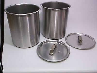 Lot (2) Vollrath 78760 Bain Marie Pots 6 Quart with Wear-ever Lids Stnls Steel