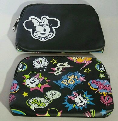 MINNIE MOUSE Black Small Cosmetic Makeup Travel Bag DISNEY PARK Gift