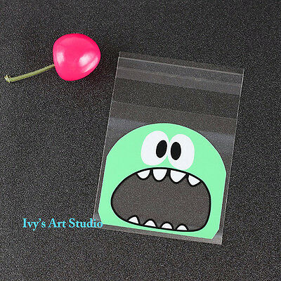 30 x Green Monster Lollie Bags treat lolly favours cello party self-adhesive bag