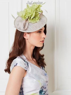 New Jacques Vert Fascinator ~ Grey & Green Flower Disc Wedding Special Occasion
