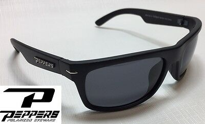 NEW Peppers Eclipse Matte Black Grey Polarized Mens Sport Wrap Sunglasses Ret$35