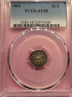 1862 Three Cent Silver PCGS AU58