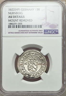 1622 HP Silver Germany Nurnberg 15 Kreuzer Hammered Coin NGC About UNC*