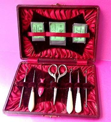 Antique Sewing Case,button & Crochet Hooks,stiletto,,needles,scissors,fish Wind