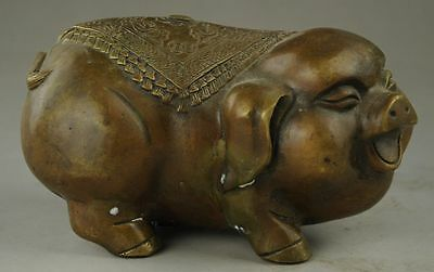 Chinese Handmade Lovely Wealth Pig Bronze Statue A