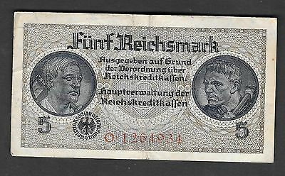 Germany 5 Mark Nazi Circulated Banknote 1940-1945 Excellent Banknote WW II