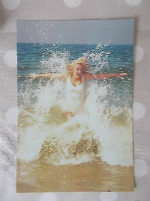 80s Postcard - Marilyn Monroe 1957 in the sea's waves by Sam Shaw colour CSF