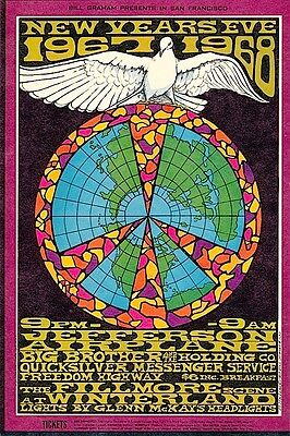 MINT Jefferson Airplane Janis Joplin 1967 BG 100 New Years Fillmore Card