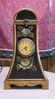 Russ Berrie & Co Hand painted Floral Wine Bottle Carrier with Clock