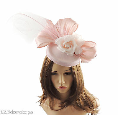Baby Pink Fascinator Hat for Weddings//Ascot//Derby With Headband F7