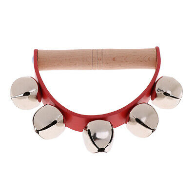 Hand Shake Rattle Ring Tambourine w/ 5 Metal Bells Music Percussion Toy Gift