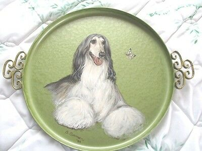 Signed Hand Painted Green Tole Tray - Gorgeous Afghan Dog & Greek Key Handles