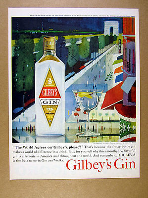 1961 Paris Champs Elysees scene color art Gilbey's Gin vintage print Ad