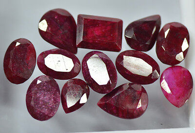 78.75 Ct/12 Pcs Natural African Blood Red Ruby Gemstone~{Lot For Sale}~CD2467