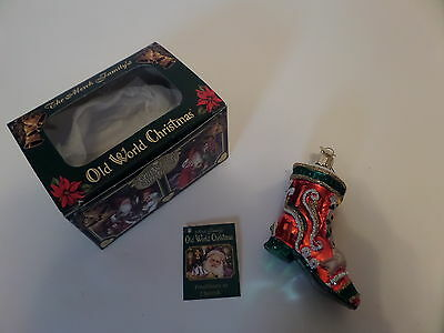 Old World Christmas glass ornament 2001 Victorian Shoe Boot ~ Incl. box ~ VG!