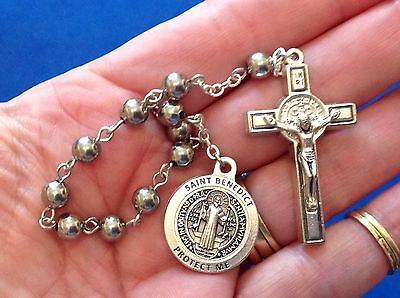 1 Decade St BENEDICT Rosary Medal Crucifix Protection Exorcisms Saint Stainless