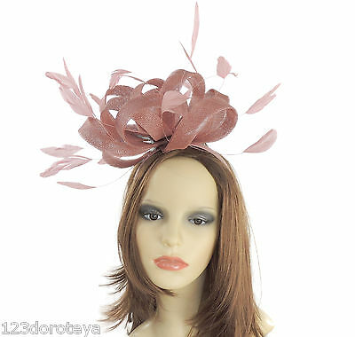 Dusky Pink Fascinator for Ascot, Weddings, Derby,Mother of the Bride F6