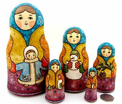 Russian stacking dolls 5 HAND PAINTED MATT WINTER Martryoshka Christmas Snowman