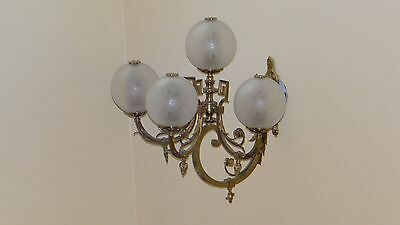 Pair old gas converted to electric brass wall sconce LARGE