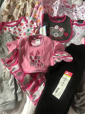 51) Lot of 13 New Infant 6/9 Months Baby Girl Clothing Pants Outfits Camo Bears