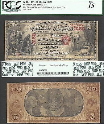 $5 1874 National GOLD BANK Note=RARE VARIETY=Ch.2158=SAN JOSE, CA=PCGS FINE 15