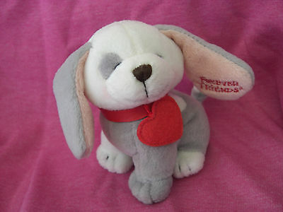 Forever Friends Puppy Dog Soft Toy Grey White Pink Red Collar Tag Valentines Day