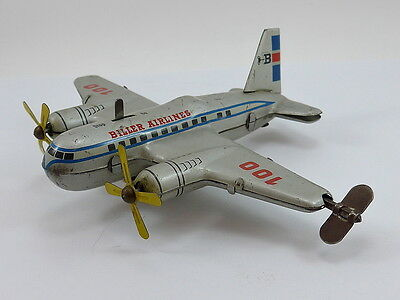 1960's BILLER West Germany Wind up Airplane