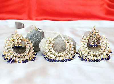 Indian Bollywood Bridal Jadau Kundan Blue Forehead Maang Tikka Earring Set