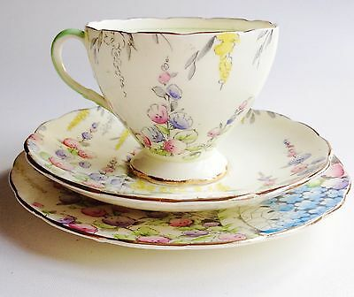 Lovely Art Deco Foley teacup china trio bright flowers - good condition
