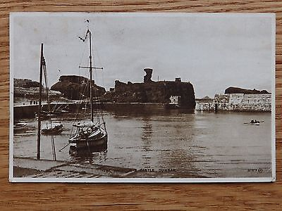 1937 Valentine postcard: The Harbour and Castle Dunbar, East Lothian, Scotland