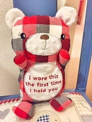 Memory Bear Personalised Message Teddy Clothes Baby keepsake Fathers day  unique