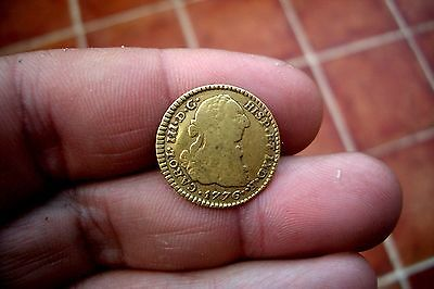 A66* HISTORICAL DATE! NICE OLD US GOLD 1 Escudo 1776 Popayan Spanish colonial