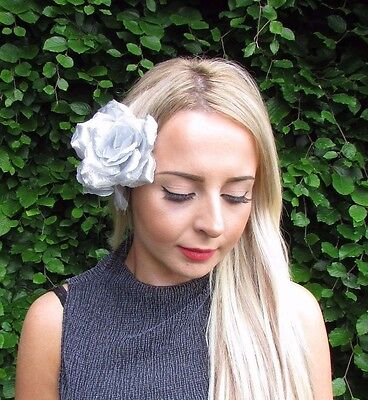 Large Double Silver Rose Flower Hair Clip Rockabilly 1950s Fascinator Vtg 3057