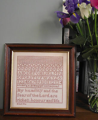 Sampler E Alphabet Cross Stitch Completed Needlepoint Framed X