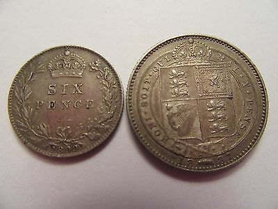TWO Great Britain Silver Coins 1887 25 shilling (.925) & 1899 6 pence