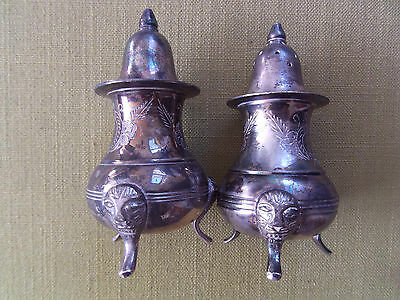 Vintage ?Silver Plated Salt & Pepper Cruet Set ?Edwardian 1910s antique