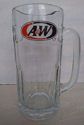 "Vintage A & W Root Beer LARGE Mug A&W Heavy Glass Stein Cup Thumbprint 7"" Tall"