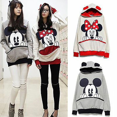 Women Mickey Mouse Hoodies Big Pockets Loose Sweatshirt Jumper Pullover Tops