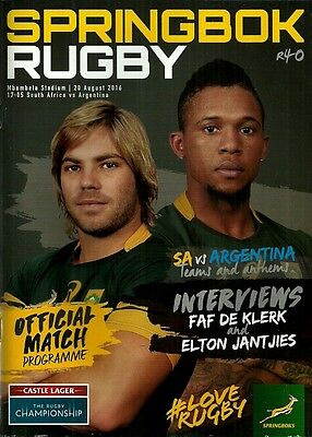 South Africa v Argentina 2016 Rugby Championship Match Programme
