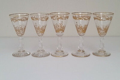 5 Antique St. Louis French Gold Encrusted, Etched, Ornate Port/shot Glasses
