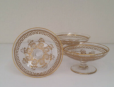 3 Old St. Louis French Gold Encrusted, Etched, Ornate Small Dishes/Salt Cellars?