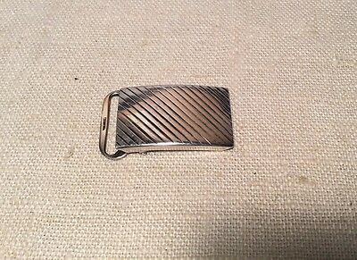 Tiffany & Co. Vintage Authentic Sterling Silver Diagonal Groove Belt Buckle
