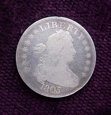 NICE Old 1805 Draped Bust Silver US Quarter