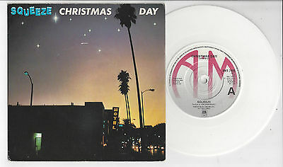 """SQUEEZE Christmas Day - White Vinyl EX/VG Cond 1979 A&M 7"""" Single"""