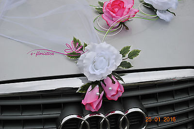 pink roses and white rattan , flower wedding car decoration kit (RBR)
