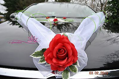 wedding car ribbon with rose and doves ,flower wedding car decoration kit (ORCG)